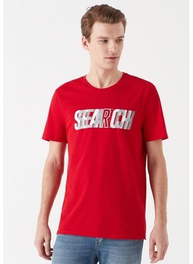 Mavi Search Baskılı Kırmızı Tişört Kırmızı
